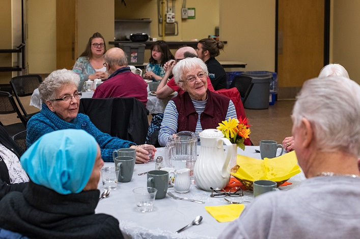The weekly Diners' Club in the Active Living Centre is a great place to meet new people, particularly for older seniors (Photo: Town of Huntsville)