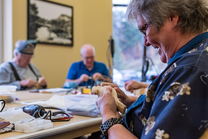 Woodcarving is one of the many drop-in activities available at the Active Living Centre