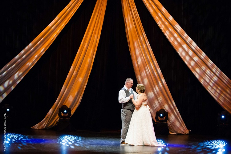The Algonquin Theatre stage is a novel location for a wedding or other event (Soul Tree Photography)