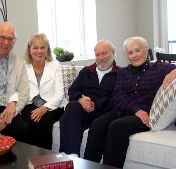 (From left) Len Ross and Nina Semper-Ross with recent residents Bev and Anne White in the show suite at 5 West Road