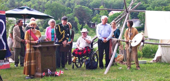 Métis Nation of Ontario Senator Verna Porter-Brunelle addresses the crowd on National Aboriginal Day 2007, at an event hosted by Moon River Métis Council at Muskoka Heritage Place