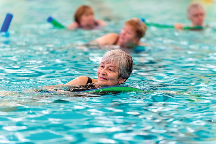 There are a variety of aquafitness classes available, including Hydrorider spin classes and H2O boot camps (Photo: Town of Huntsville)