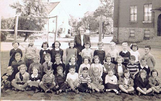 Kindergarten at Huntsville Public School, Mrs. Robinson's class. Roy is front row, seventh from left.