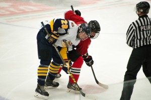 Myles York gets set for the drop of the puck during an action-packed second period