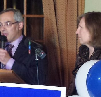 Tony Clement, pictured with his wife Lynne Golding, thanks supporters and family on election night in the last federal election.