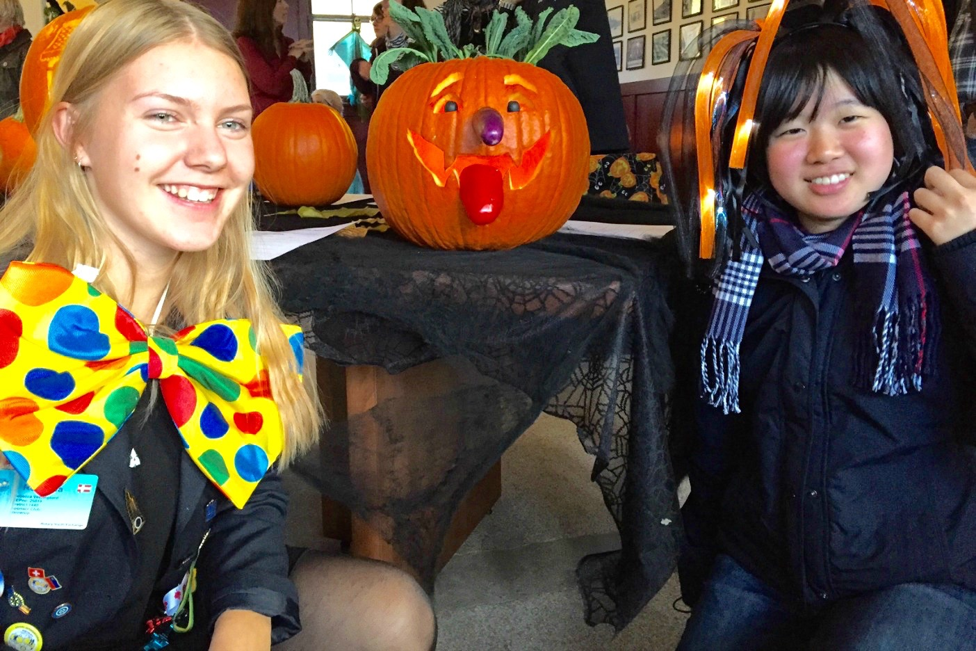 Rebecca Vastergaard, a Rotary Exchange student from Denmark and Maho Shihota a Muskoka Language Internation exchange student from Tokyo got into the Halloween spirit too