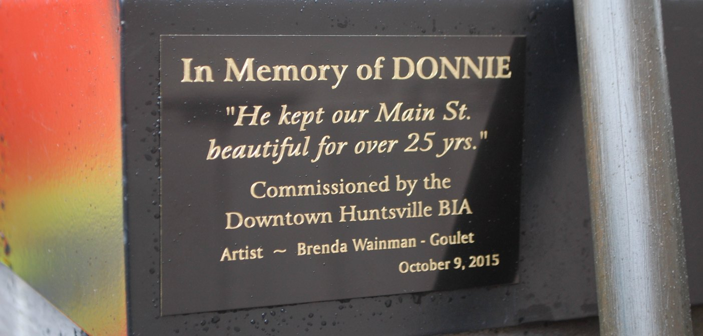 A plaque in downtown Huntsville in memory of Donnie Eagles
