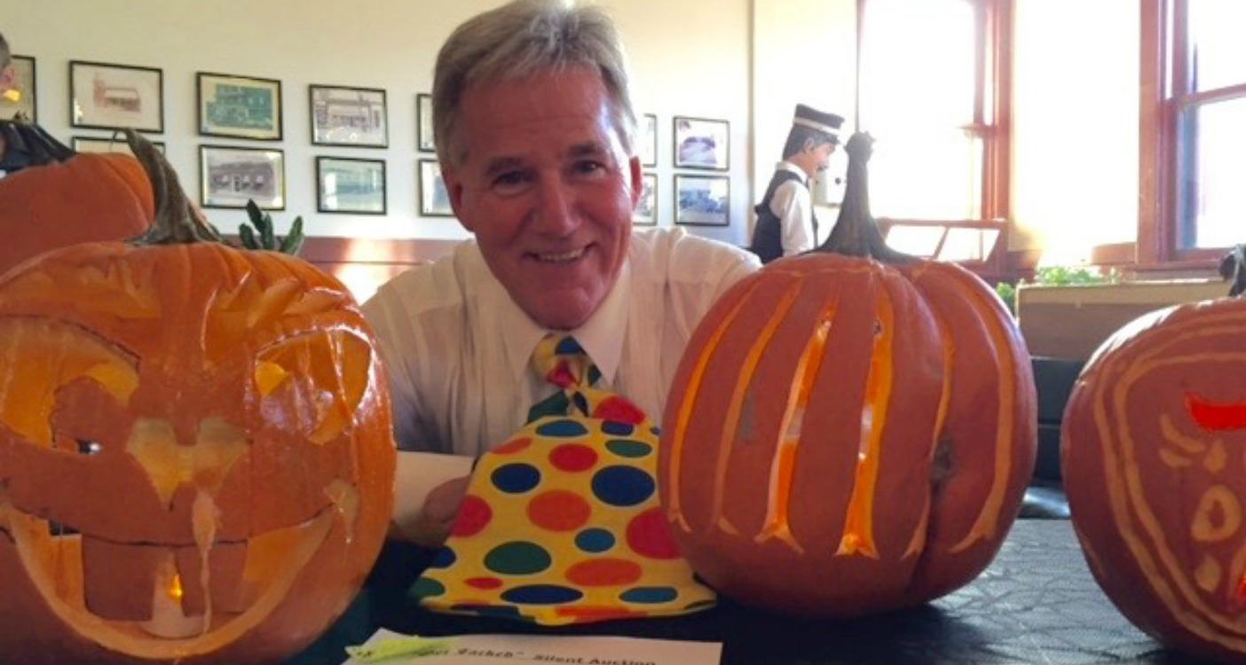 Rob Saunders, General Manager of the Huntsville Festival of the Arts, is dressed to carve