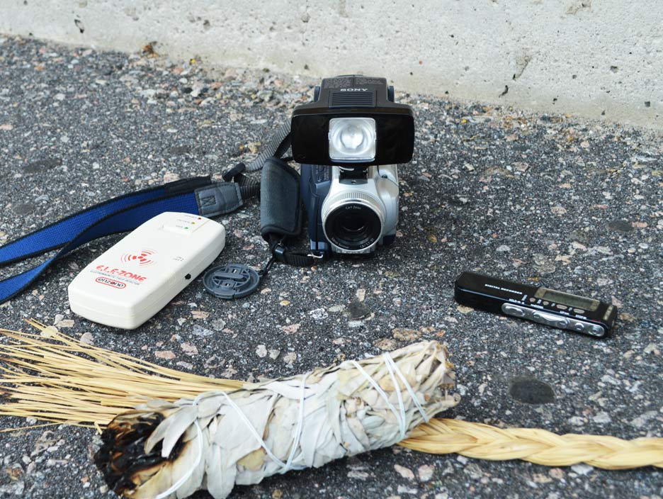Some of the equipment used by the group: an electromagnetic field detector, an audio voice recorder, a video camera with built-in night vision and sage and sweet grass for protection.