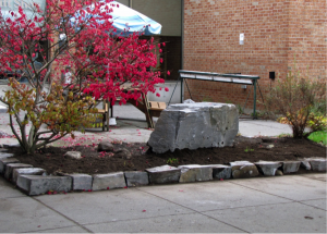 The newly edged garden at the Huntsville Hospital