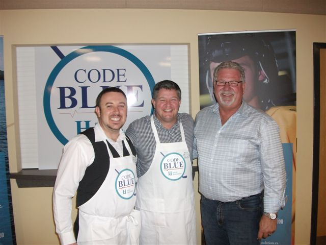Moose FM morning man Dustin Whitcomb, mayor Scott Aitchison and Jr. C President Monty Clouthier at the spaghetti dinner