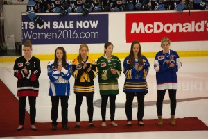 The captains of each provincial team were present for the opening ceremonies held before the Ontario Red vs. Quebec game