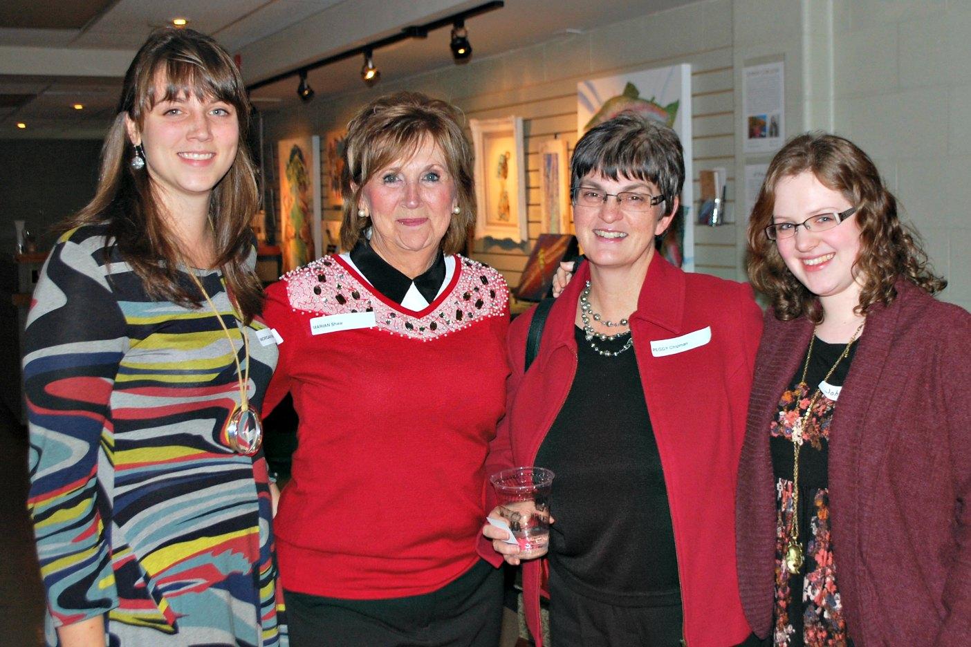 Morgan Richter, Marian Shaw, Peggy Chipman, and Johanna Chipman at a Volunteer Muskoka appreciation social