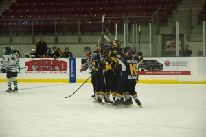 The Otters celebrate a game-tying goal early on Sunday morning