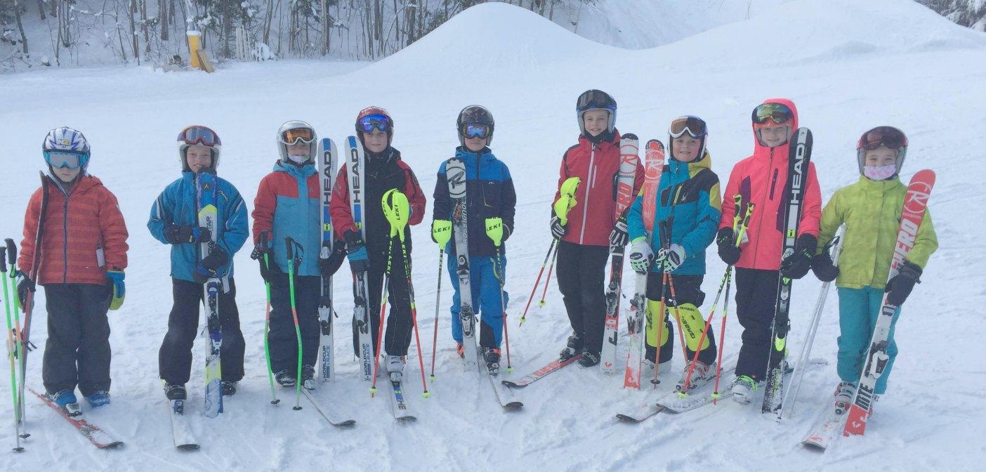 Muskoka Ski Club racers (from left) Nolan Caswell, Luke Barnes, Justin Caswell, William Caswell, Matt Barnes, Sam Barnes, Andy Bulloch, Julia Caswell and Charlotte MacKenzie