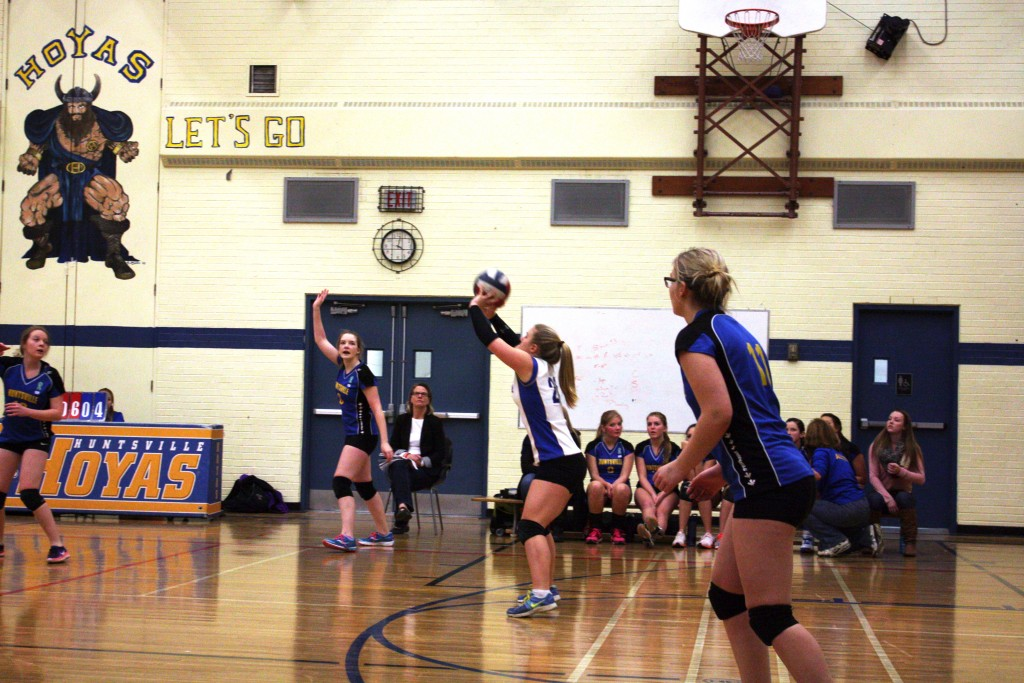 Hailey McConnell receives a pass as her teammates shift from defense to offense against the Gravenhurst Gryphons