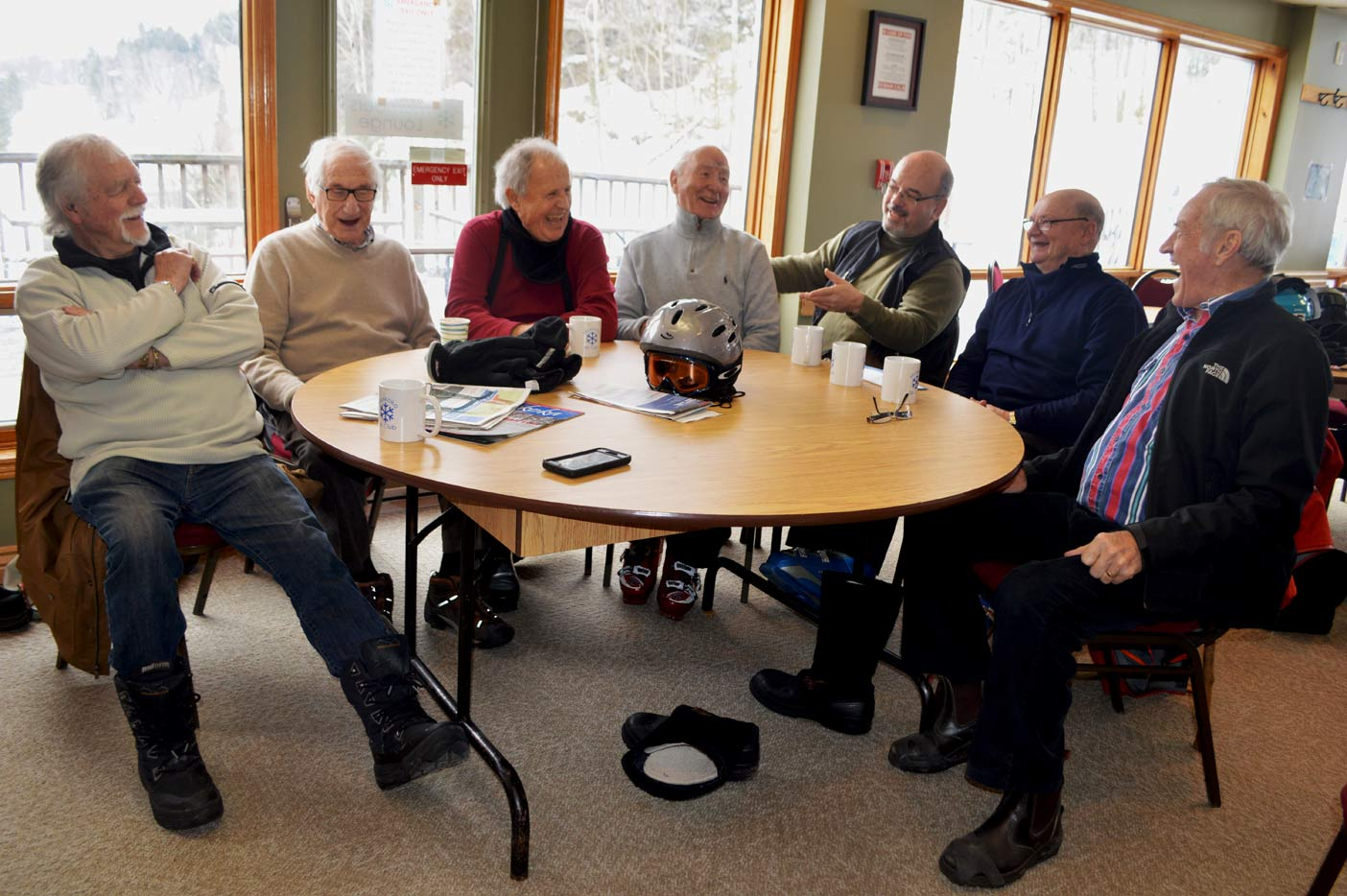 "(From left) Colin Oke, Murray Ruby, Peter Wood, Ken Raven, Bryan ""Cubby"" Young, Ken Farnsworth and Joe Spiers, some of the old-time skiers who get together on Mondays at Hidden Valley Highlands Ski Area."