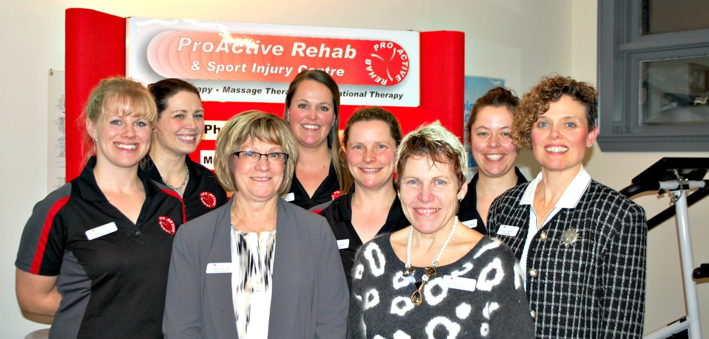 The ProActive Rehab team (back row from left) Sarah Tyler, Marlee Moore, Stacey Van Schyndel; (middle row) Krista Thorpe, Stella Barnett, Leslie Tempest; (front row) Janet Srutwa, Cathy Shelton