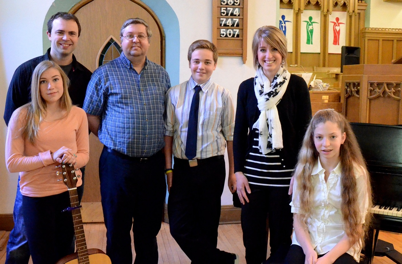 These students each received a music bursary from the Concert Association of Huntsville for lessons from September 2014 to June 2015. (from left) guitar student Tianna Fraser with her teacher Tobin Spring, piano student Luke Asher-Murphy with his teacher Roger King, piano student Victoria Langfeld with her teacher Melissa Bradbury. CAH fundraisers and charitable donations made the program possible.