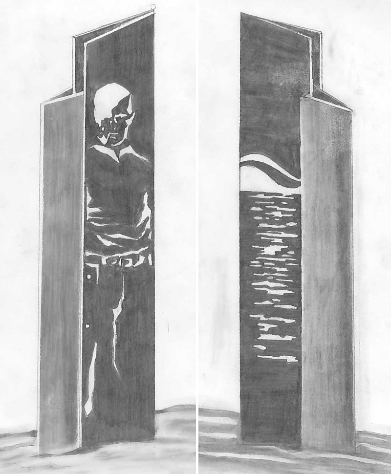 An artistic rendering of Pipe Man. One on side will be the likeness of Tom Thomson (left), on the other waves representing Pipefusion's 35 years