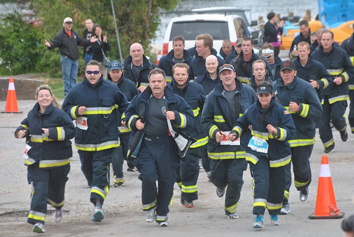 How far can you make them run? The firefighters will go 1K for every $1K raised - so far they'll be stopping at the 8K mark in 2016.
