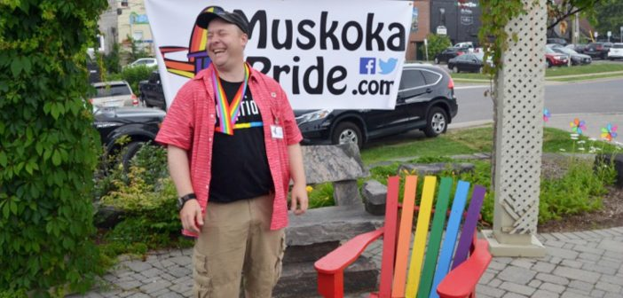 Muskoka Pride board member Shawn Forth was all smiles at the 2016 Muskoka Pride Festival kick-off BBQ
