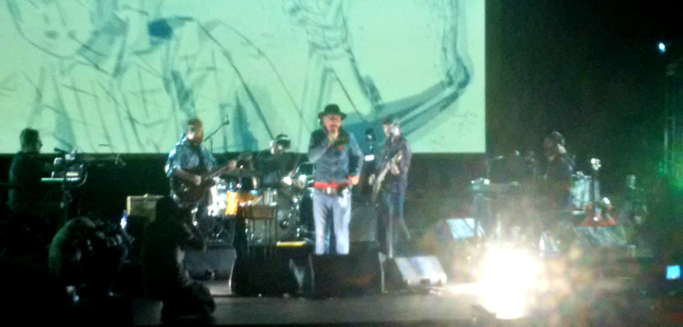 Gord Downie and the band for the Secret Path tour on stage at the Algonquin Theatre in 2016 (Photo courtesy of the Algonquin Theatre)
