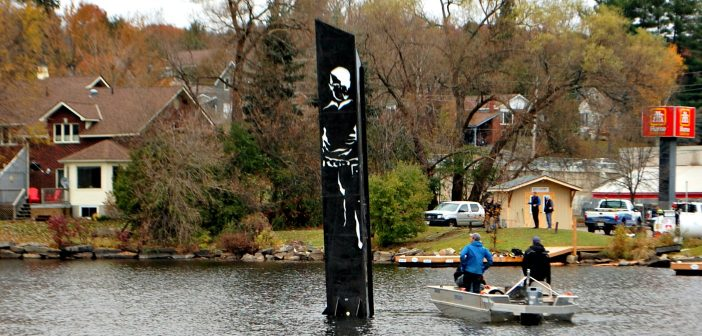 Pipe Man overlooks the Town Docks. The sculpture was installed by Pipefusion staff on November 3, 2016.