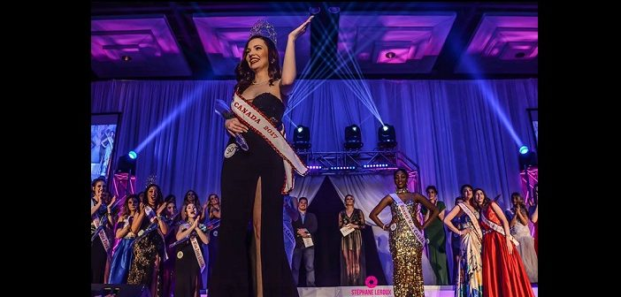 Ciara Thompson waves to the audience after being crowned Miss Canada 2017 (Photographer: Stéphane Leroux)