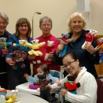 Members of the Catholic Women's League of Huntsville knit bears for children with cleft lips and cleft palates (submitted photo)