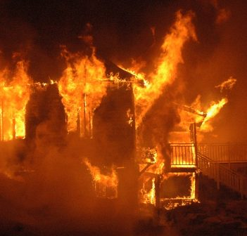 The former Pow-Wow Point Lodge went up in flames during a controlled burn exercise (Huntsville Fire Department)
