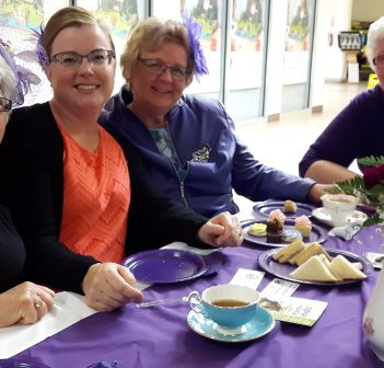 (From left) Darlene Ballentine, Karen Ross, Pauline Diamond, and Roberta Holmes enjoy the 2017 Purple Tea Party in support of Hospice Huntsville