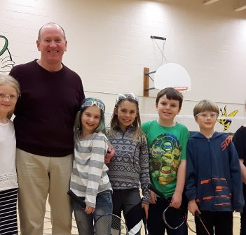 Ross Jewiss with HPS students (from left) Brianna Belfry, Lilly Creighton, Madison McCague, Travis Robertson, Elijah Quigg, and Savannah MacDonald.