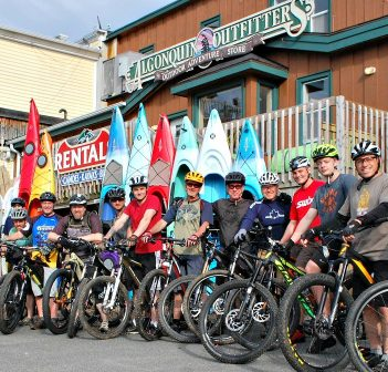 The number of riders at the Algonquin Outfitters Tuesday night group ride varies from week to week and all are welcome