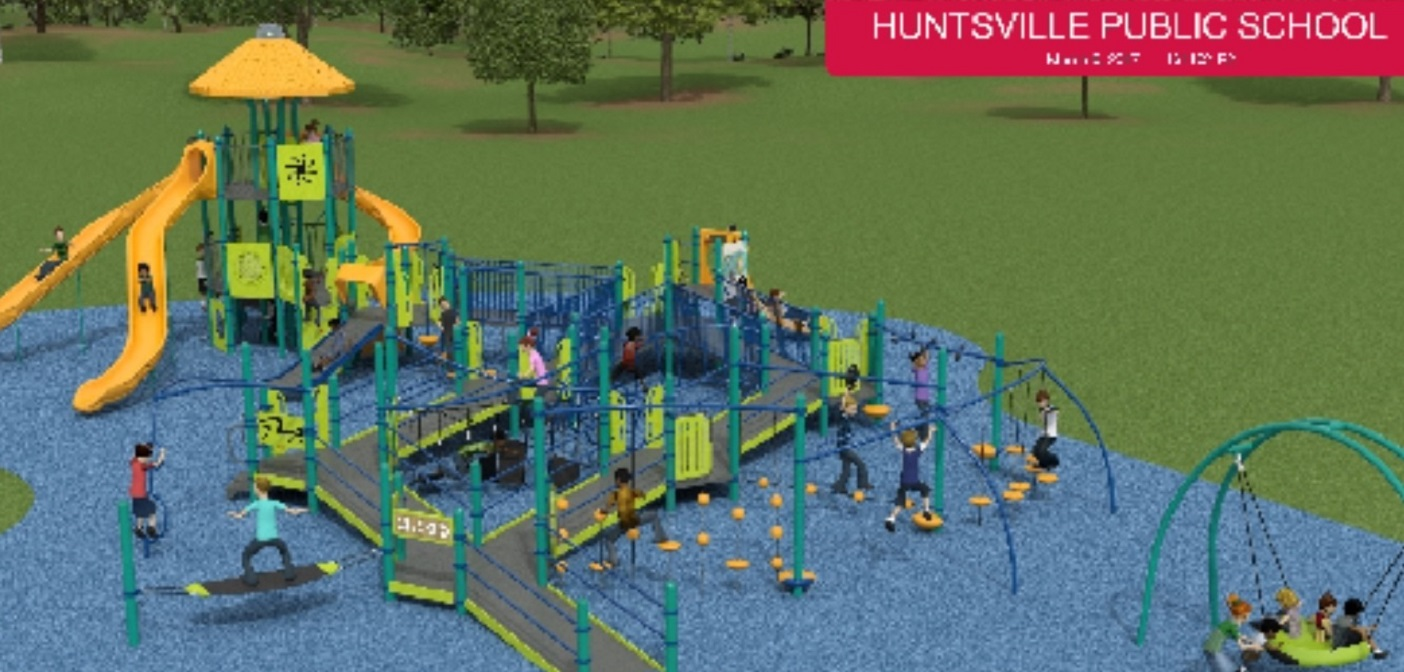 A rendering of the proposed accessible playground at Huntsville Public School