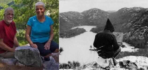 "Jim and Sue Waddington at ""Carmichael's rock"", the site where the famous photograph of Franklin Carmichael was taken."