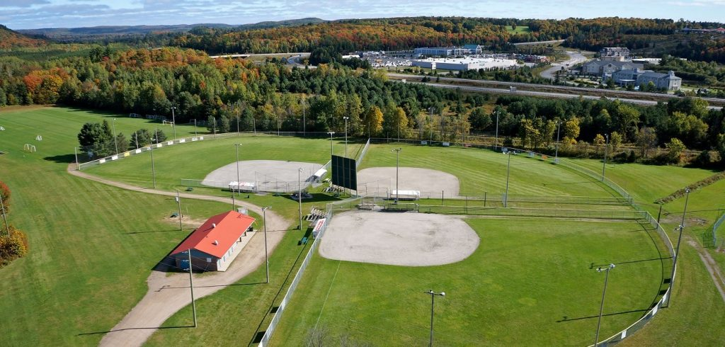 Three of the baseball diamonds at McCulley-Roberston Recreation Park. Not pictured is diamond F. (Photo: Town of Huntsville)