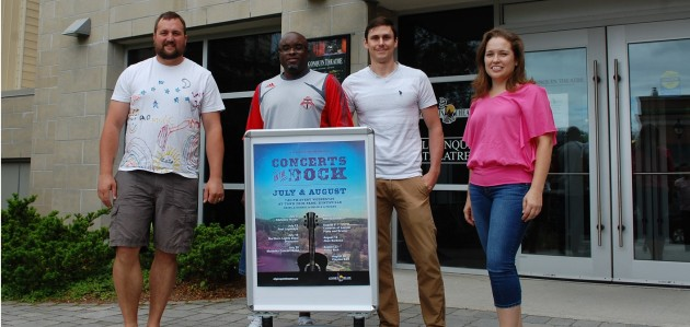 (From left) Clayton Earl and members of the Northern Lights Steel Orchestra Marlon Jordan, Matt Moody and Jennifer Eberhardt are excited for this year's Concerts on the Dock series