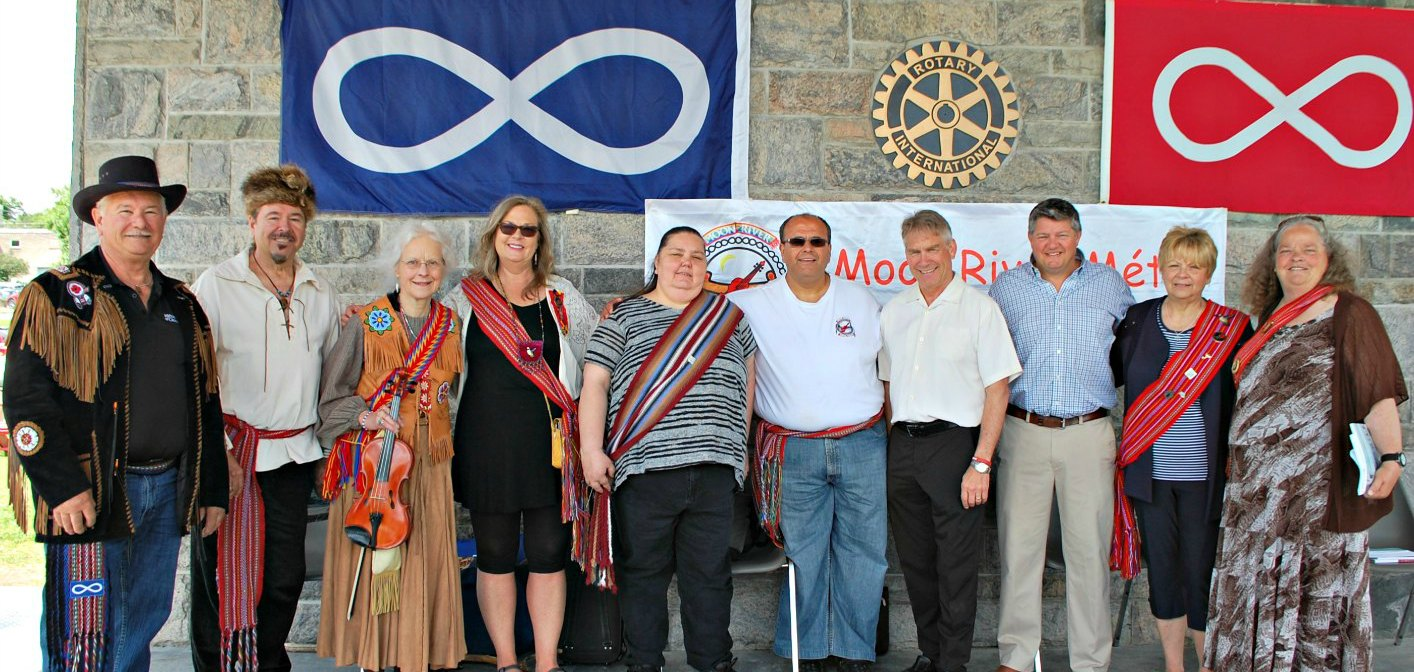 (From left) Victor Brunelle, Moon River Métis Council Senator Larry Duval, Honorary Senator Ruth Wagner, Town of Huntsville Manager of Arts, Culture and Heritage Teri Souter, Métis Nation of Ontario Councillor Pauline Davidson, Moon River Métis Council President Tony Muscat, MPP Norm Miller, Mayor Scott Aitchison, Métis Nation of Ontario Senator Verna Porter-Brunelle, and Moon River Métis Council Chair Bonny Cann
