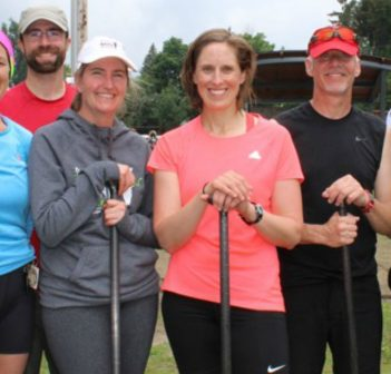 'Steve and the Fearless Females' (from left) Jane Wolfe, coach Chris Near, Justine Brown, Rebecca Francis, Steve Norman and Deanna Lavigne completed 13 laps in the grueling Algonquin Outfitters 24-hours of River X challenge.