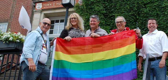 A flag raising at Huntsville's Town Hall was part of Muskoka Pride Festival