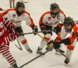 Summer-Rae Dobson (second from right) in a JWHL game with her Ridley College teammates (Photo: Ridley College)