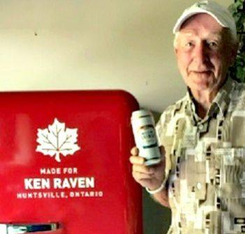 Ken Raven with his customized Molson beer fridge (Photo: Sandy Raven)