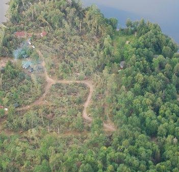 The tornado tore through this point of land on Bella Lake (Photo: Brian Tapley)