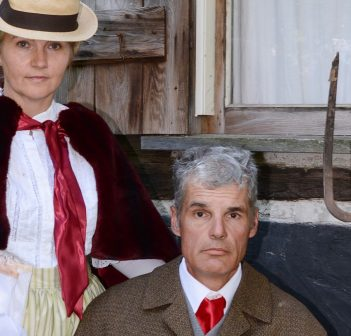 Karen Thorn (left) and Terry Savory in character for Up The Blasted Trail (Photo: Susan MacDonald)