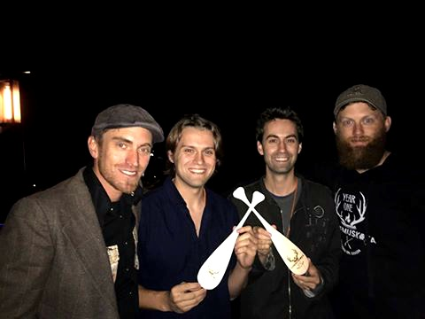 Filmmakers Brodie and Evan Cooper (centre), winners of the Best Horror Short for The Armoire with CineMuskoka co-directors Jeremy Muntz left) and Oliver Ward (right) (Photo: Cheryl Cooper)