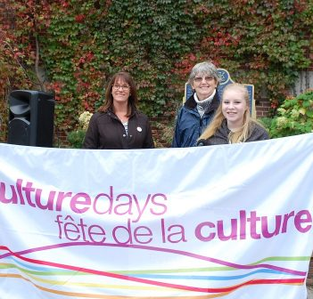 The Culture Days 2017 flag raising with (from left) Councillor Jason FitzGerald, Town CAO Denise Corry, Culture Days organizer Pam MacKenzie, musician Briar Summers and Deputy Mayor Karin Terziano