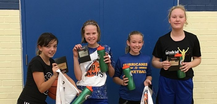 Grade 5/6 Huntsville girls (from left) Gracie Johnson, Justine McNaughton, Olivia Joiner, and Millie Langlais won their 3-on-3 division