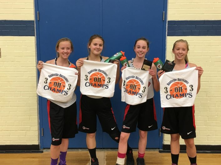 The 3-on-3 grade 7/8 girls winners (from left) Piper Long, McKenna Allen, Lauren Oliver, and Jenna Gill