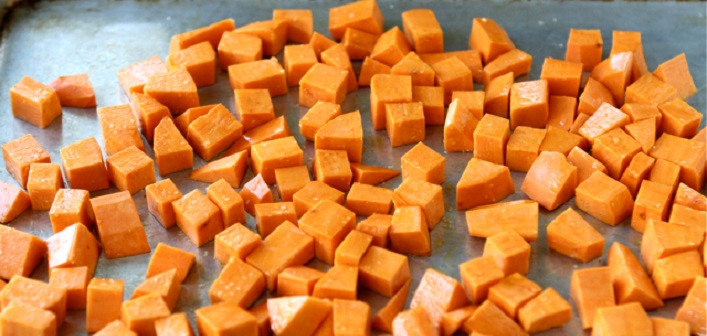 Sweet potatoes are the basis for a delicious salad that can be made any time of year for any occasion